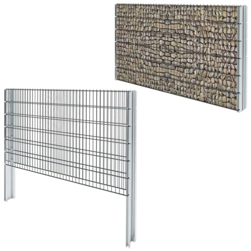 2d gabion fence set 2008x1230 mm 14 m grey