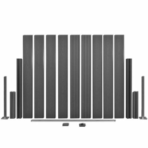 Garden Fence Panels 3 pezzi WPC Grigio 538 cm