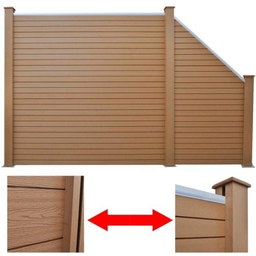 Set di pannelli per recinzione 1 quadrato + 1 inclinato 283 cm WPC marrone (1x42816 + 41553)