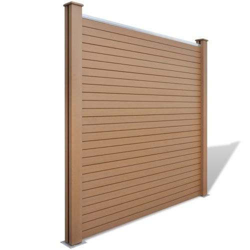 Set di pannelli per recinzione  2 quadrati + 1 inclinato 460 cm WPC marrone (2x42816 + 41553)