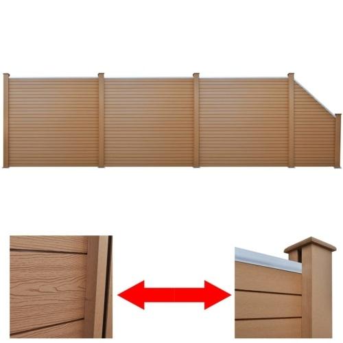 Set di pannelli per recinti  3 quadrati + 1 inclinato 638 cm WPC marrone (3x42816 + 41553)