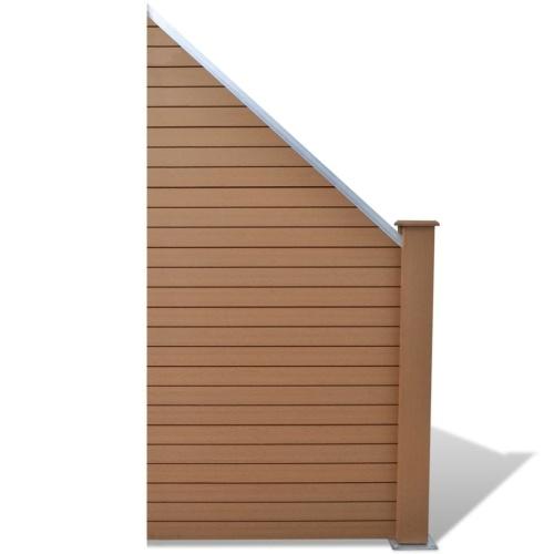fence panel set 4 square + 1 slanted 815 cm wpc brown