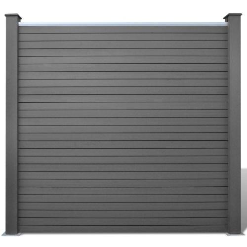 Set di pannelli per recinzione  1 quadrato + 1 inclinato 283 cm WPC grigio (1x42817 + 41555)