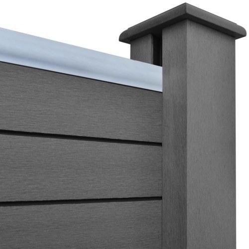 Panneau de clôture  4 places + 1 incliné 815 cm WPC Gris (4x42817 + 41555)