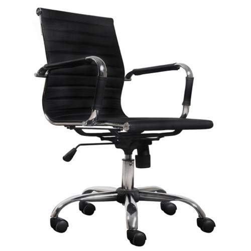 Moderne schwarze Kunstleder-Bürostuhl
