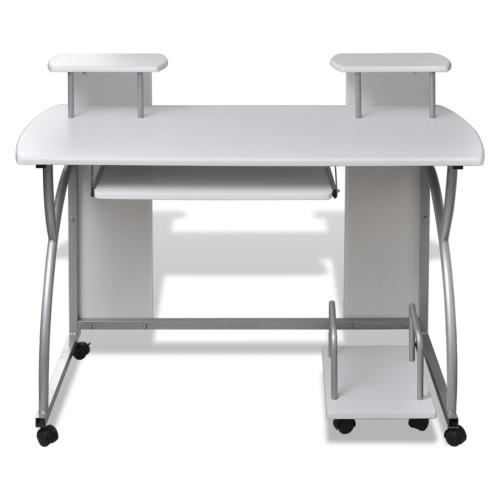Bureau informatique et étagères blanc
