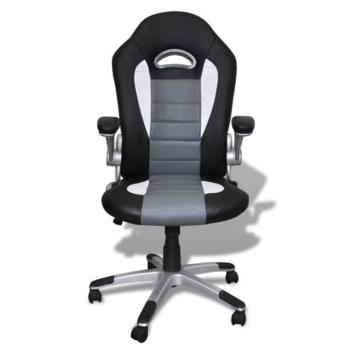 Fauteuil de bureau en similicuir gris et noir