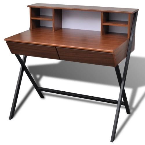 Bureau brun 2 tiroirs, pieds acier noir.