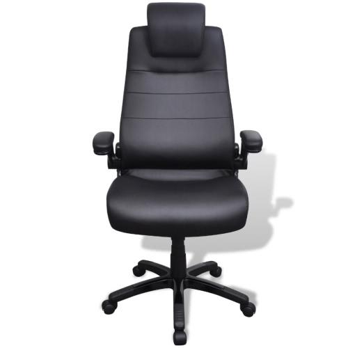 Chaise pivotante réglable en similicuir Noir
