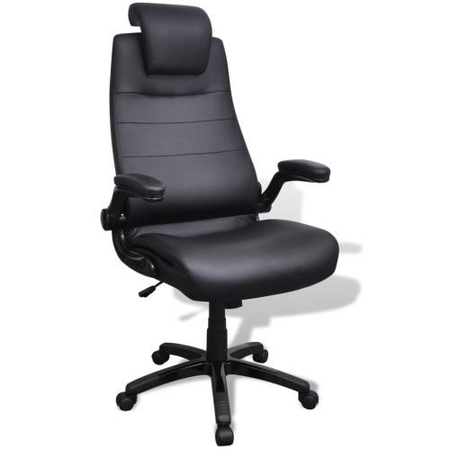 Chaise pivotante réglable avec accoudoir en cuir artificiel Noir