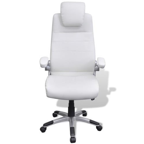 Fauteuil de bureau en simili cuir blanc