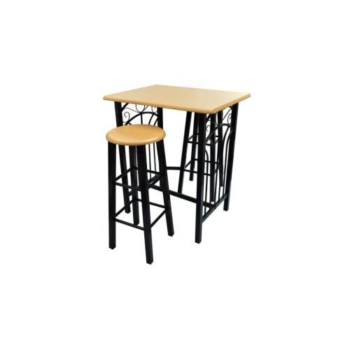 Ensemble table et 2 tabourets en bois et acier noir