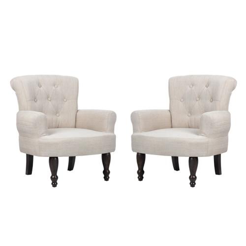 Lot de 2 de fauteuils élégant crème
