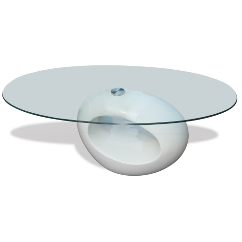 Table basse verre trempé blanc laqué