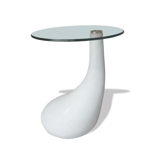 Table basse blanc en forme d'une goutte d'eau