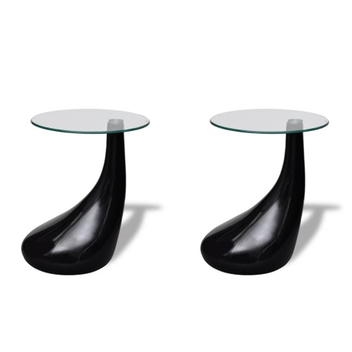 Lot de 2 tables d'appoint en verre trempé