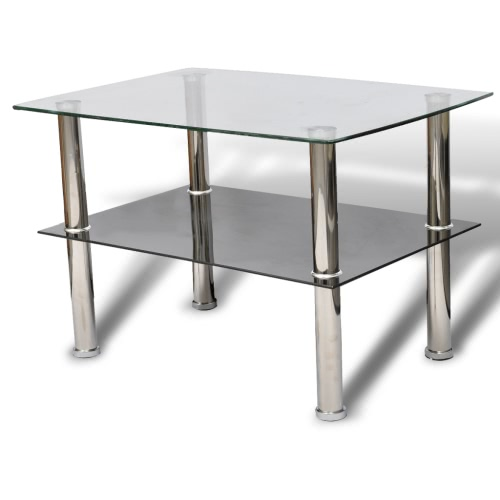 Table basse double plateau en verre trempé