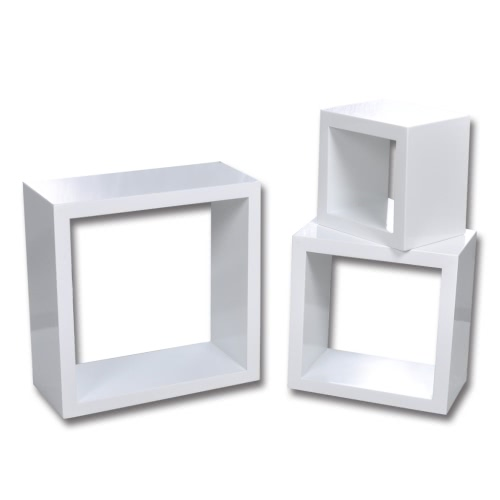 Lot de 3 cubes design blanc