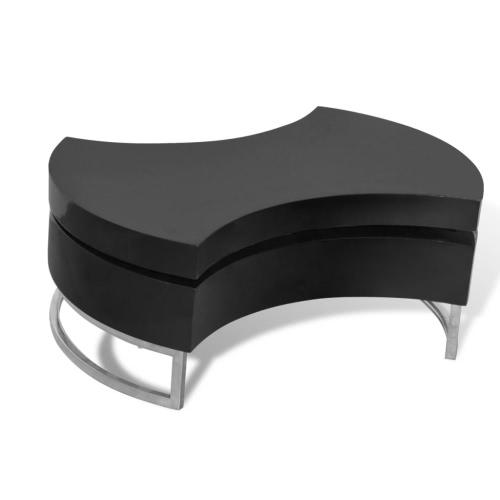 Table basse pivotante noir brillant