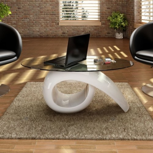 Table basse design blanc brillant