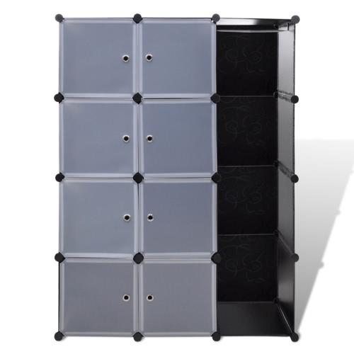 Armoire modulable noir et blanc avec 9 compartiments