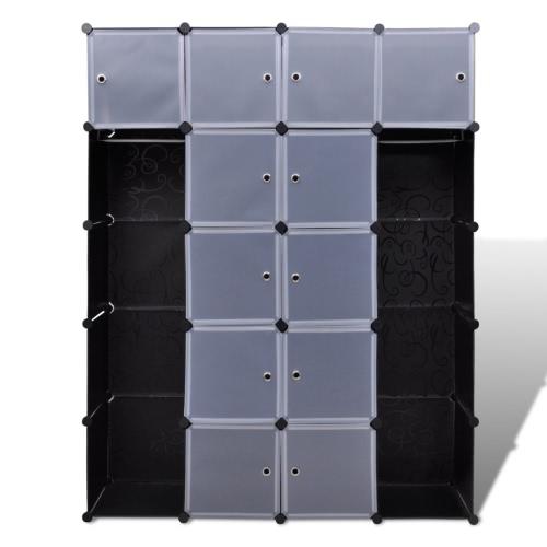 Armoire modulable noir et blanc -14 compartiments