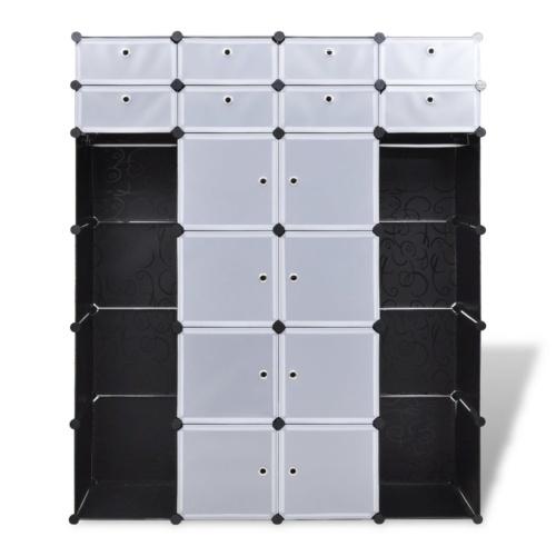 Armoire modulable noir et blanc avec 18 compartiments