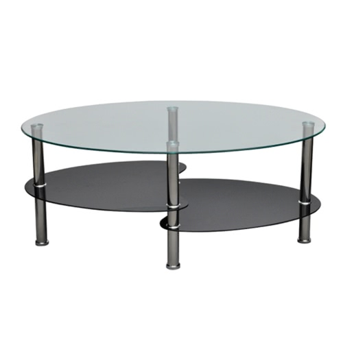 Table basse double plateau en verre