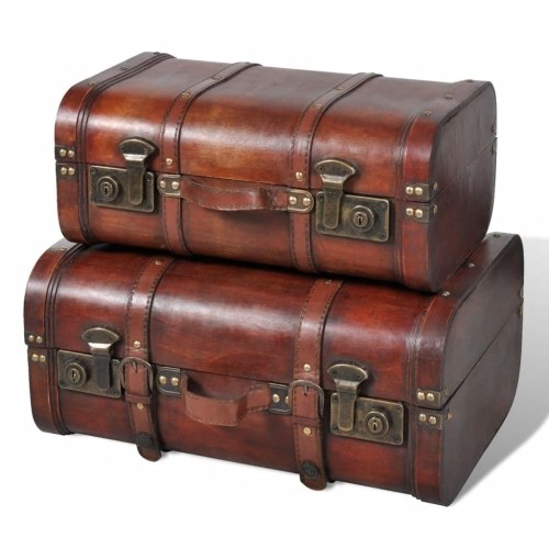 Lot de 2 coffres en bois - marron