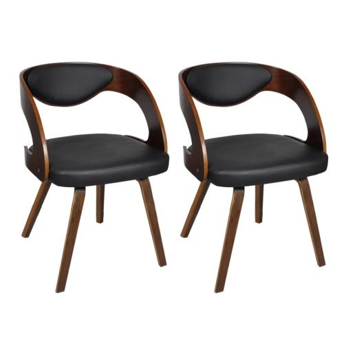 Chaise de salle à manger 2 pcs Cadre en bois Cuir synthétique