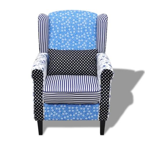 Fauteuil patchwork Bleu et Blanc et pieds chromés