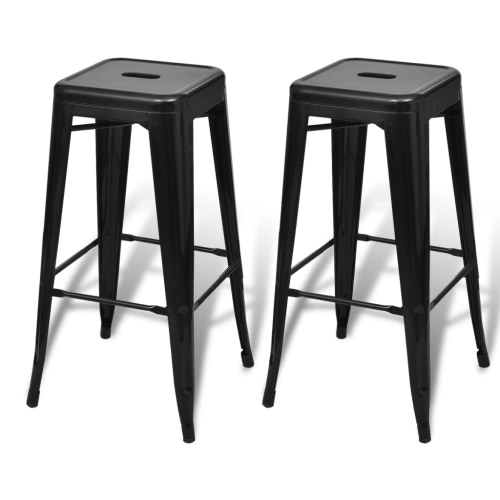 Lot de 2 tabourets de bar Noir