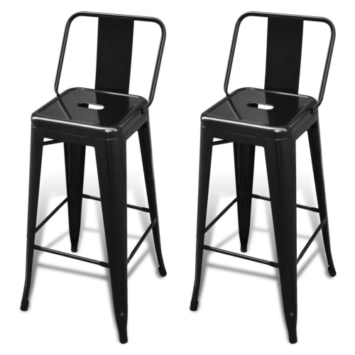 Tabouret de bar 2 pcs Carré Noir