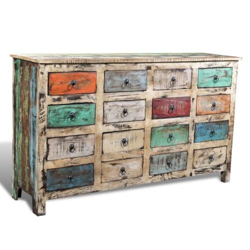 Commode Vintage 16 Tiroirs en bois recyclé