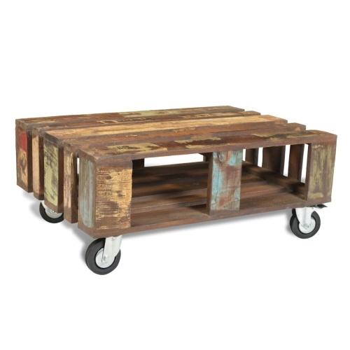 Table basse avec roulettes, bois recyclé, style industriel