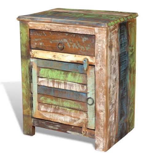 Table de chevet vintage en bois recyclé