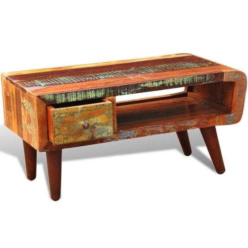 Table basse en bois de récupération, style industriel