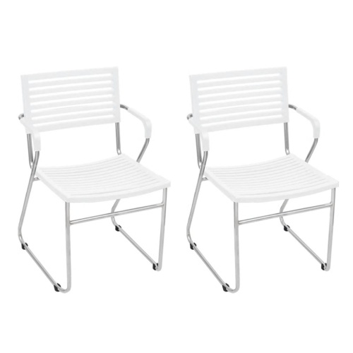 Lot de 2 Fauteuils empilables Blanc