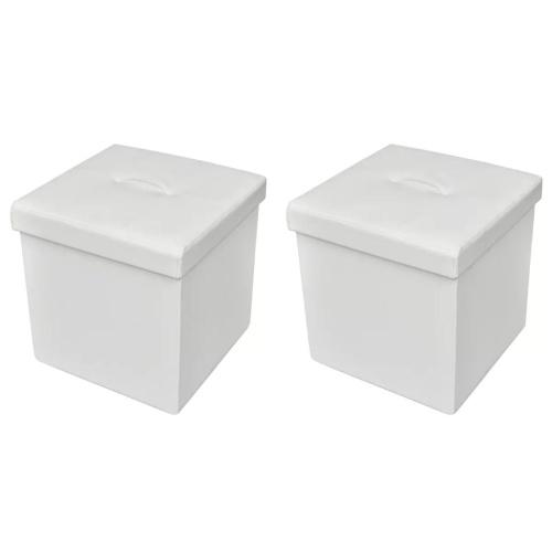 Lot de 2 poufs de rangement pliant  blanc