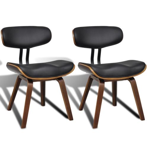 Lot de 2 chaises noir et brun