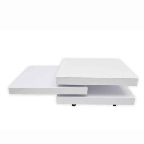 Table basse pivotante - trois plateaux blanc