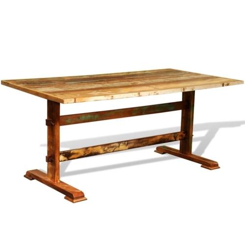 Table à manger vintage en bois recyclé