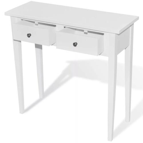 Coiffeuse en bois avec deux tiroirs blanc