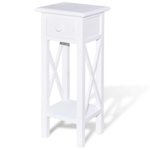Table d'appoint avec tiroir blanc