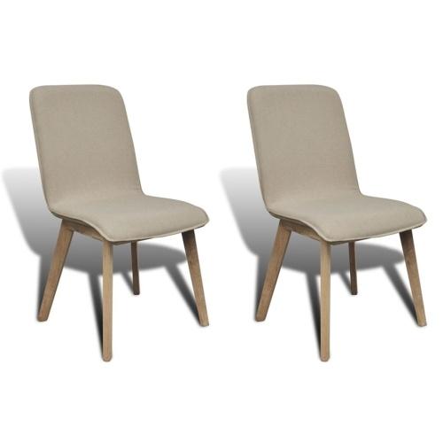 Ensemble de 2 chaises en chêne - beige