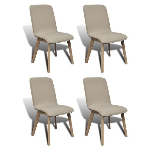 Ensemble de 4 chaises en chêne - beige