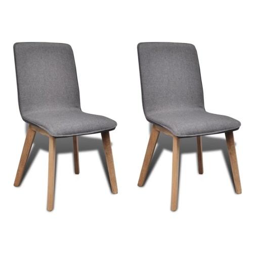 Ensemble de 2 chaises en chêne - gris foncé