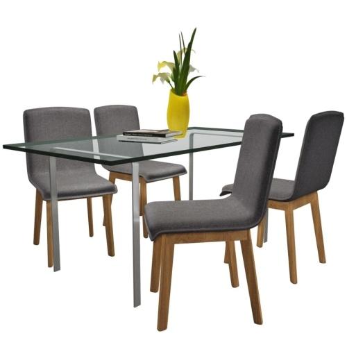 Ensemble de 4 chaises en chêne - gris foncé
