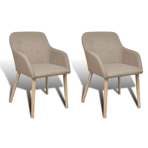 Lot de 2 fauteuils en chêne - beige
