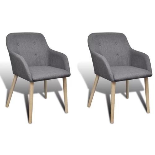 Lot de 2 fauteuils en chêne - gris foncé